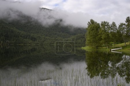 The nature of summer Norway. Mountains, lakes. Fogs and clouds, reflections in fine pure water.