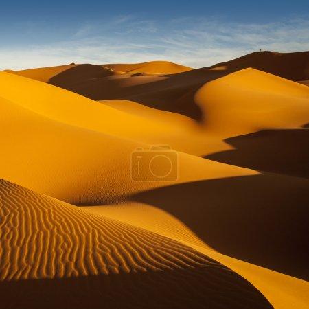 Libyan Sahara. Dunes. Sand structure at sunset.