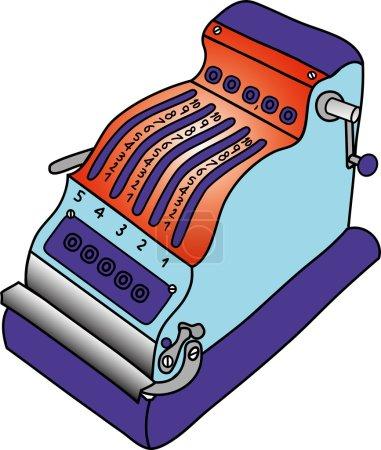 Illustration pour Machine à ajouter vintage ou calculatrice mécanique des années 50, utilisée pour le calcul de la somme et du produit - image libre de droit