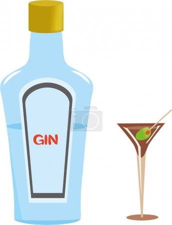 Gin Bottle and Martini Glass