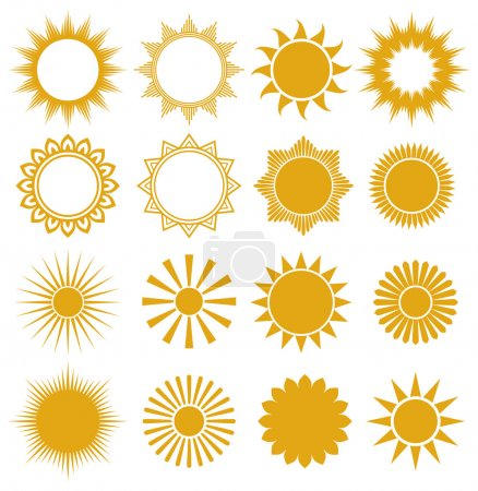 Illustration for Suns - elements for design (set of vector suns, suns collection) - Royalty Free Image