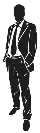 Business man in suit and tie silhouette...