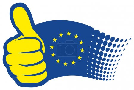 Illustration for Euro flag with thumbs up - Royalty Free Image