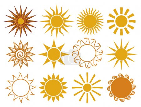 Illustration for Set of sun vector - Royalty Free Image