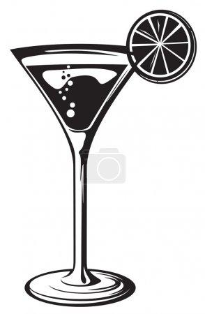 Illustration pour Cocktail cocktail en verre avec citron - image libre de droit