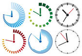 Colorful clock icons isolated on white