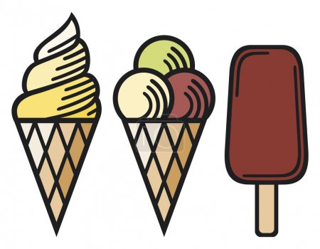 Illustration pour Icône de crème glacée, ensemble de crème glacée, cônes de crème glacée - image libre de droit