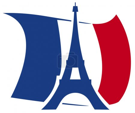 Eiffel Tower vector design wit flag on background...