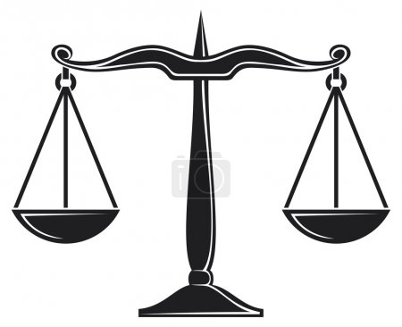 Illustration for Scales of justice symbol isolated on white - Royalty Free Image