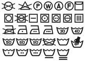 Set of washing symbols (Washing instruction symbols bleaching and Ironing instruction Dry clean icon)