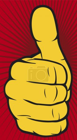 Illustration for Vector hand showing yellow thumbs up on red background - Royalty Free Image