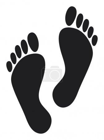 Illustration pour Empreintes de pas (deux empreintes de pas d'homme noir ) - image libre de droit