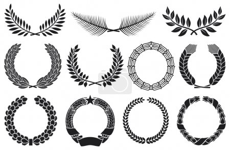 Illustration for Wreath set (wreath collection, laurel wreath, oak wreath, wreath of wheat, palm wreath and olive wreath) - Royalty Free Image