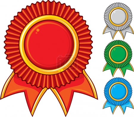 A collection of awards icon colored blue, red, gray and green
