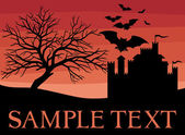 Bats scary black tree and old castle