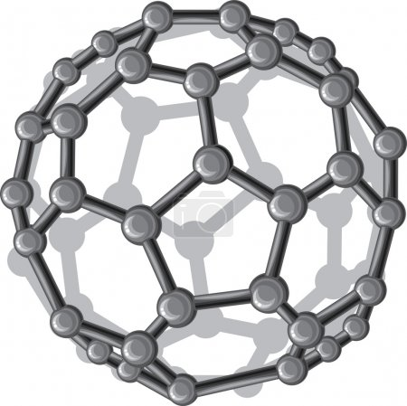 Illustration for Molecular structure of the C60 buckyball (nanostructure fullerene C60 sticks molecular model) - Royalty Free Image
