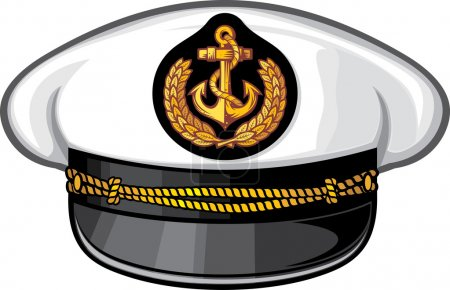 Illustration for Captain hat (nautical captain's hat, vector illustration captains hat, cap captain white uniform) - Royalty Free Image