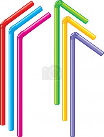 Straws for a cocktail on a white background.