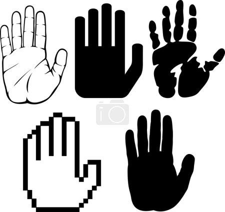 Illustration for Black hands (black print of a hand, hand print, hand print shape, stop hand silhouette ) - Royalty Free Image