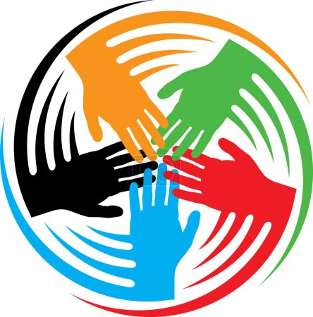 Illustration for Teamwork hands icon (together icon, hands connecting symbol, connected icon) - Royalty Free Image