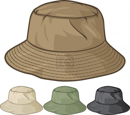 Illustration for Bucket hat collection (bucket hat set) - Royalty Free Image