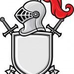 Medieval knight helmet, shield, crossed swords and...