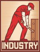 Pracovník drží klíč - průmysl plakát