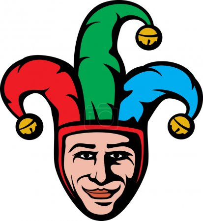 Illustration for Jester head (smiling joker) - Royalty Free Image