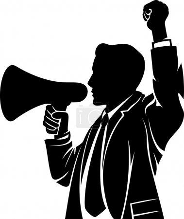 Man speaking in megaphone...