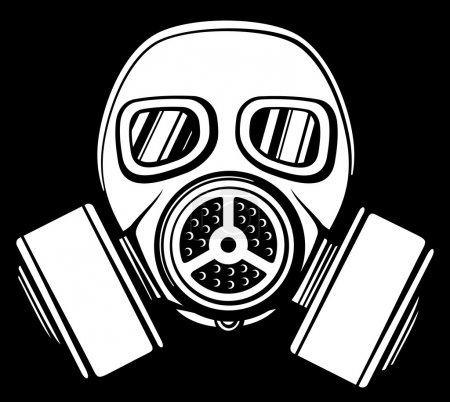 Illustration for Gas mask (army gas mask, mask-protection in the face of the filter, protective gas mask) - Royalty Free Image