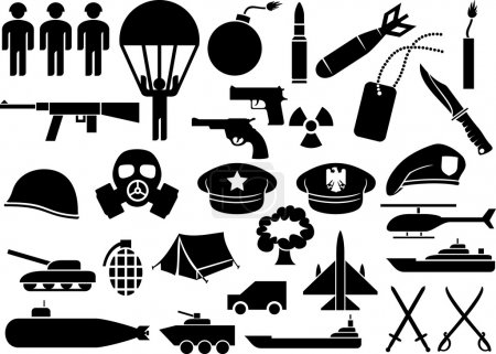 Illustration for Military icons (knife, handgun, bomb, bullet, gas mask, swords, helmet, captain hat, explosion, dynamite, tent, machine gun, military beret, armoured personnel carrier, aircraft carrier, battleship) - Royalty Free Image
