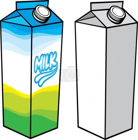 Illustration pour Carton de lait (carton de lait avec bouchon à vis, boîte en carton, boîte à lait, emballages de carton de lait, paquet de lait ) - image libre de droit