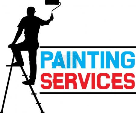 Illustration for Illustration of a man painting the wall - Royalty Free Image