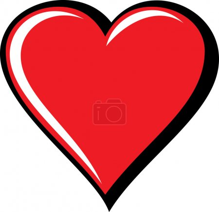Illustration for Big Red Heart, Isolated On White Background, Vector Illustration - Royalty Free Image
