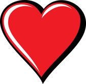 Grande cuore rosso, isolato su sfondo bianco, illustrazione vettoriale