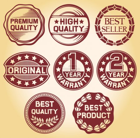 Quality label, high quality label, best seller label, original label, 2 year warranty label, 1 year warranty, best quality label, best product label