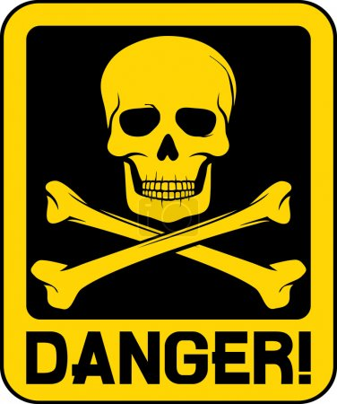 Vector danger sign with skull symbol