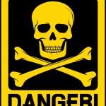 Vector danger sign with skull symbol...