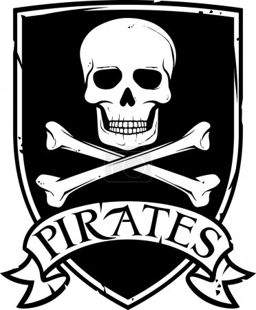 Pirate vector flag (jolly roger pirate flag with s...