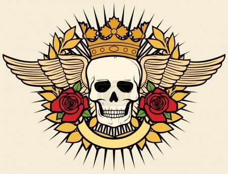 symbol czaszki - czaszka tatuaż projekt (korony, wieniec laurowy, skrzydła, róże i transparent)
