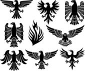 Heraldic eagle set (eagle silhouettes heraldic design elements eagle vector collection)