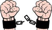 Hand broken chains (fetters)