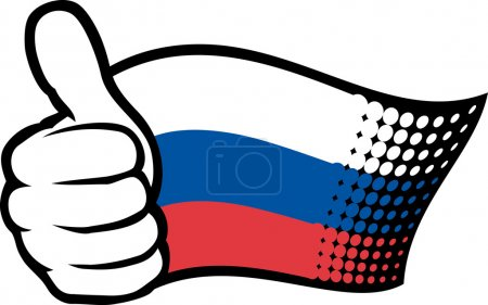 Illustration for Russia flag. Hand showing thumbs up. - Royalty Free Image