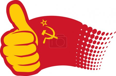 Illustration for USSR flag. Hand showing thumbs up. - Royalty Free Image