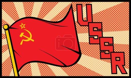 Ussr flag in pop art style (soviet union flag)...