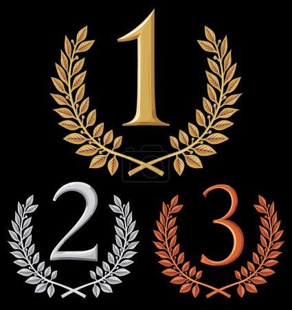 Illustration pour Première place, deuxième place et troisième place (ensemble de symboles or, argent et bronze ) - image libre de droit