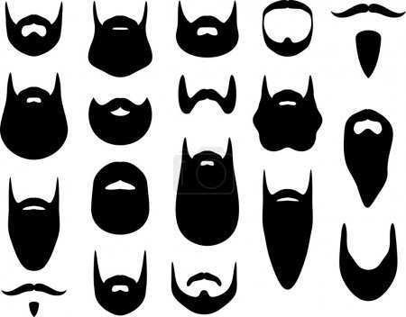 Set of beard silhouettes...