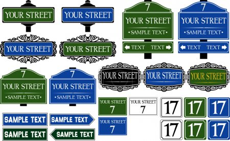 Illustration for Big collection of road and street signs - Royalty Free Image