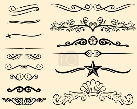 Vector set of decorative elements (decorative lines)