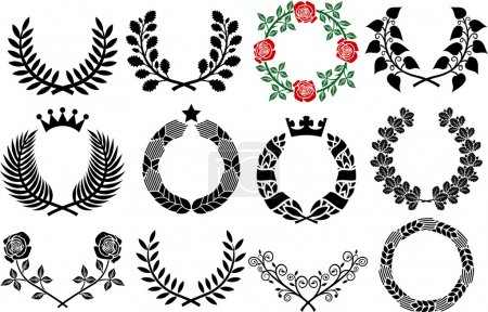 Wreath set (roses wreath, wreath collection, laurel wreath, wreath of wheat, oak wreath)